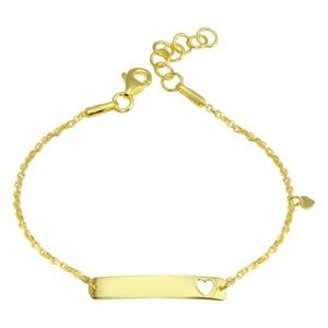 Sterling Silver Gold Plated Heart ID Bracelet